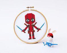 DEADPOOL Cross stitch Pattern PDF  Boy Girl Superhero di POWSTITCH