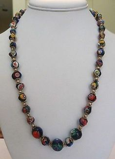 $24.......VINTAGE VENETIAN MURANO ITALY MILLEFIORI GRADUATED GLASS BEAD NECKLACE (07/01/2014)