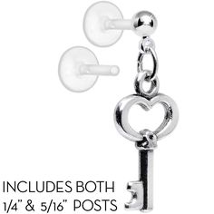 Handcrafted Open the Key to My Heart Dangle Tragus Cartilage Earring