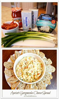 APRICOT GORGONZOLA CHEESE SPREAD   Made with gorgonzola, cream cheese, apricot preserves, bacon and green onion. I can't tell you how many people have requested this recipe! If you like the ingredients, I know you will love this this spread!