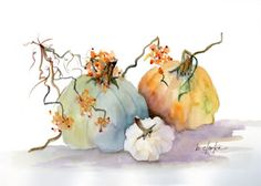 Watercolor Painting Of 3 Pumpkins by Barb Clarke