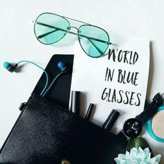 World in blue glasses   My blog in itao: https://ru.itao.com/u/915707125    #flatlay #sunglasses #women #fashion #glasses