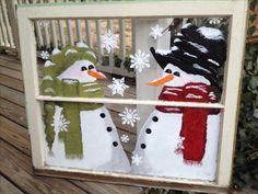 Peinture fenêtre bonhomme de neige snowman