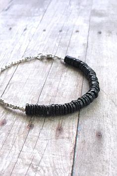 Black Gemstone Bracelet, Hill Tribe Silver Bead Jewelry, Black Spinel Bead Bracelet, Natural Stone Jewelry, Minimalist Beaded Black Bracelet by GemsByKelley on Etsy