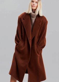 """Color:Amber Heavyweight woolen felt Oversized fi Padded shoulders Peaked lapels Crossoverbutton front closure Weltfront pockets Satin lining 90% Wool 10% Nylon Dry Clean Imported One Size Product Measurements: 20"""" Shoulder 50"""" Bust 45"""" Length Model is 177cm/ 5'9"""" wearing size O/S Wool Coat, Fur Coat, Cargo Shirts, Tapered Trousers, Long Vests, Oversized Blazer, Work Wardrobe, Fashion 2020, Raincoat"""