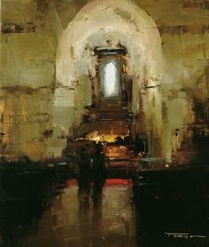In the Church by Tibor Nagy Oil ~ 14 x 12