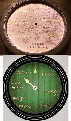 Hobbit mealtime clocks for the kitchen: on Bilbo's hobbit hole door and The Shire map