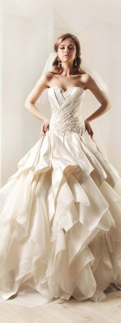 Rami kadi wedding dresses bridal 2012 collection - Silk satin duchess unfinished organza draped wedding gown rami kadi