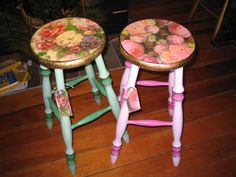 Hand painted, gilded and decoupaged chabby chic stools - the tops are decoupaged with tissue paper ironed on to the dried glue then resined