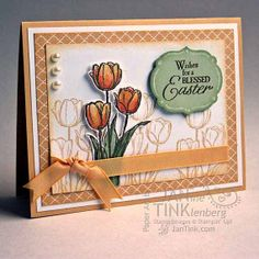 Greeting Card  Wishes for a Blessed Easter HandColored by JanTink, $5.95