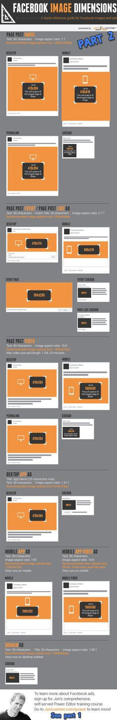UPDATED Facebook image sizes cheat sheet Part 2 www.socialmediabusinessacademy.com Facebook Infographic Facebook marketing