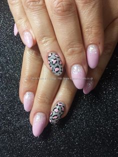 Pink acrylic with freehand nail art