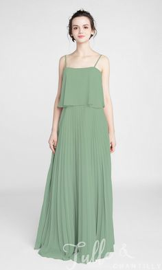 Long Pleated Chiffon Bridesmaid Dress with Spaghetti Straps TBQP399 click for 40+ colors