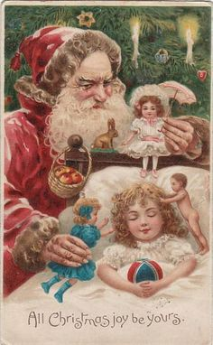 Sweet Dreams of Christmas Past ~ vintage postcard