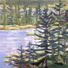 "Art by Marcela Strasdas : ""Vermillion Lake Trees"" - - Oil on Panel Make Me Smile, My Arts, Trees, Oil, Artist, Painting, Artists, Painting Art"