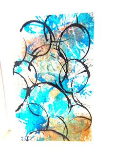 my abstract art, circles in blue and beige