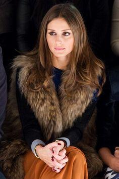 Mustard skirt, fur vest. Chambray long skirt