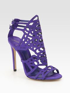 B Brian Atwood Laplata Cutout Suede Sandals