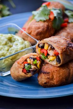 Southwest Egg Rolls and Avacado Ranch Dipping Sauce just like the ones at Chili's!