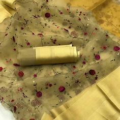 Shop Organza Silk Sarees Online with the best price.Flaunt latest styled cuts and Give yourself the stylish look with these Indian Dresses Wedding & Party. Light Gold Color, Embroidery Saree, Wedding Embroidery, Stylish Sarees, Trendy Sarees, Organza Saree, Elegant Saree, Chiffon, Silk Sarees Online