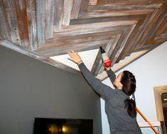 Reclaimed wood/herringbone ceiling and living room reveal from Make Me Pretty.