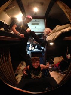 5SOS inside of Gus Bus☺ they so cute <3