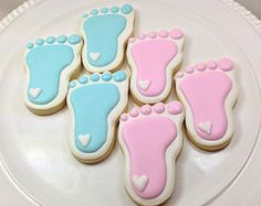 Baby Shower Cookies | Baby Feet Cookies | Gender Reveal Party | Gender Reveal Cookies | Baby Shower Favors | Baby Shower Ideas | One Dozen