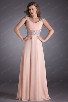 Gorgeous Blush A line princess Sweetheart Long Chiffon prom dresses with Beaded  -  $55.00 Form https://www.everisa.com/gorgeous-blush-a-line-princess-sweetheart-long-chiffon-prom-dresses-with-beaded