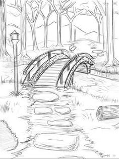 bridge_over_he_river_wip ___ × - Zeichnung ideen bleistift - Drawing Pencil Art Drawings, Drawing Sketches, Cool Drawings, Drawing Ideas, Easy Nature Drawings, Drawing Tips, Pencil Drawing Tutorials, Pencil Sketches Of Nature, Pencil Sketches Simple