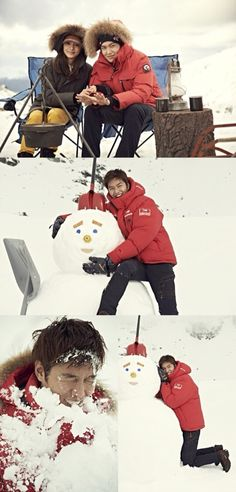 Lee Min Ho presses his cheek to the snowman that he made himself and looks like an innocent child. He also enjoys a snowball fight with his staff members and made a pleasant atmosphere during the shooting. He also had fun taking a sledge down with his fellow models, showing off how good he is at sports.