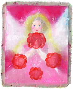 """""""ANGELJAPAN ROSES HEART"""" acrylics and mixed media on F3 canvas (2014)"""