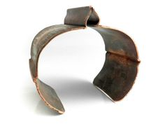 Fall Harvest Bracelet Cuff Copper Fold Formed - Heat Patina Forged Earthy Autumn Organic Contemporary - Textured Oxidized Distressed Rustic