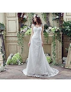 A-line Wedding Dress Court Train Off-the-shoulder Lace with Beading / Crystal / Embroidered / Lace