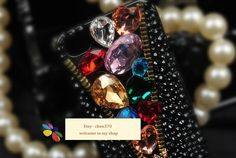 Zipper and Skull Crystal Gem DIY Phone Case Deco Den Kit  & Free Phone Case. $9.99, via Etsy.