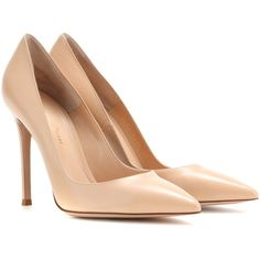 Gianvito Rossi Leather Pumps found on Polyvore featuring shoes, pumps, heels, sapatos, high heels, neutrals, nude leather shoes, nude heel pumps, nude high heel pumps and gianvito rossi
