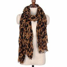 Designer Inspired Leopard Animal Print Scarf - BROWN