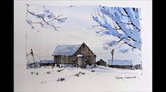 """Line and Wash """"Winter Farm"""" Watercolor with just Two Colors. Great begin..."""