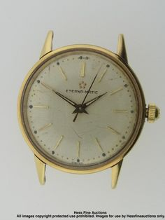 Heavy 14k Gold Gubelin Eterna Matic Running Mens Wrist Watch