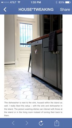 Dishwasher in island, next to sink,  to interact with guests while loading.
