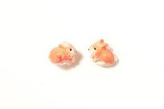 Studs Rabbit Bunnies (Fimo Polymer Clay) Earrings Handmade