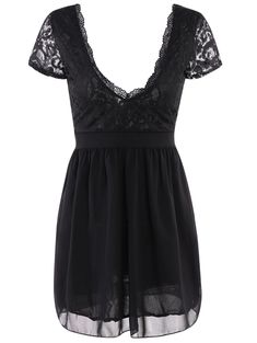 Plunging Neck Lace Panel Night Club Dress - Black - S - BLACK S