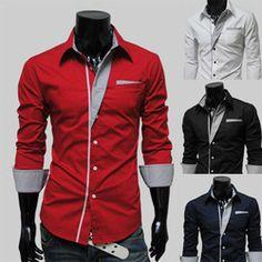 Online Shop 2014 Fashion New Long Sleeve Shirts Men,Korean Slim Design,Cotton Male Casual Shirts,4Color M-XXL Dress Shirt,Drop&Free Shipping Aliexpress Mobile