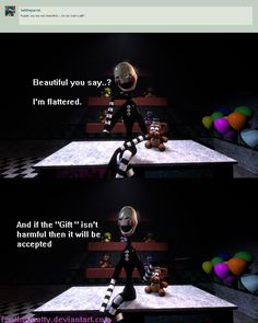 {Ask the animatronics} Flattering by Teetheyhatty on DeviantArt Fnaf, Puppets, Deviantart, Gifts, Beautiful, Presents, Favors, Doll, Hand Puppets