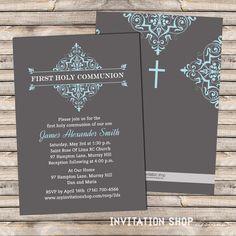 Elegant Damask Frame Communion Invitations  by InvitationShop, $1.20