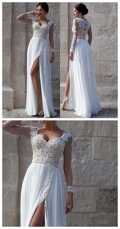 White Side Slit Elegant Custom Cheap Wedding Party Prom Dresses by DestinyDress, $225.00 USD