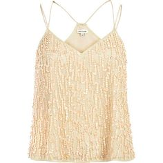 Your staple cami in it's most sophisticated form, this cream embellished version is perfect for glamorous evenings. #riverisland