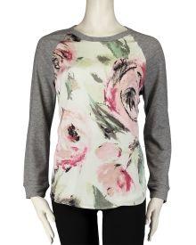 Silk Rose Print Panel Sweatshirt, Main View