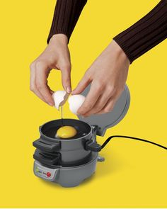 All you need to do is assemble the ingredients into the Hamilton Beach Sandwich Maker and the machine would take it from there. Breakfast Sandwich Maker, Waffle Sandwich, Grill Sandwich, Breakfast Burger, Quirky Kitchen, Kitchen Items, Kitchen Stuff, Kitchen Utensils, The Originals