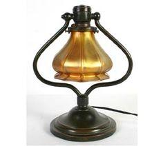 Quezal Art Glass Gold Iridescent Bronze Table Lamp
