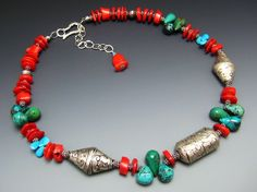 Turquoise and Red Coral Sterling Silver Necklace w Antique Tibetan Pendant